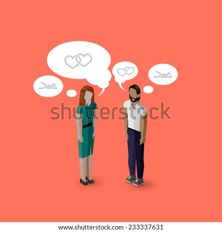 vector 3d isometric cartoon illustration of man and woman characters. infographic or advertising template. communication concept - stock vector