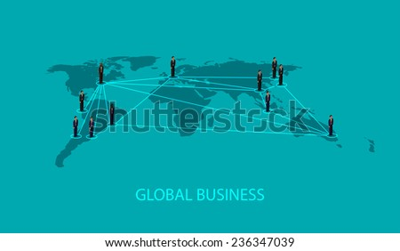 vector 3d isometric illustration of business people standing on the world global map shape. infographic global business cooperation concept. - stock vector