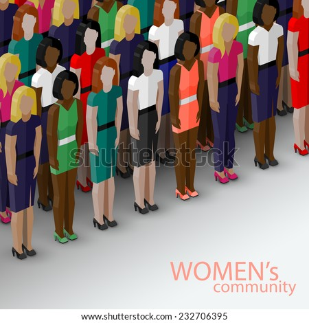 vector 3d isometric  illustration of women community with a large group of girls and women. feminist concept - stock vector