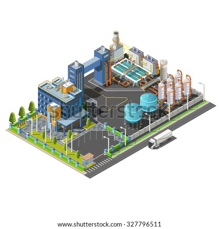 Vector 3d isometric industrial area treatment plant,hydroelectric, water purifying system construction. Isolated vector icon set of buildings, pipes, boilers and water. - stock vector