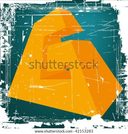"vector 3d letter ""G"" on GRUNGE background - stock vector"