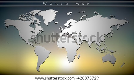 vector 3d map of the world on sunset background, EPS 10 - stock vector