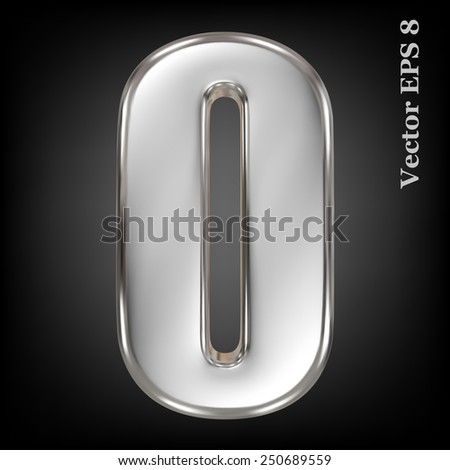 Vector 3d metal number collection - 0. Eps 8 using mesh. - stock vector