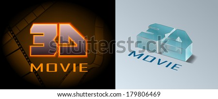 Vector 3D Movie Icons, Eps 10 Vector, Gradient Mesh and Transparency Used, Raster Version Available - stock vector