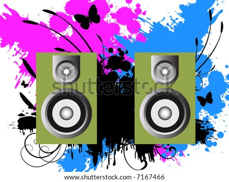 Vector - 3D music speakers against a grunge ink splat background with vines and florals.
