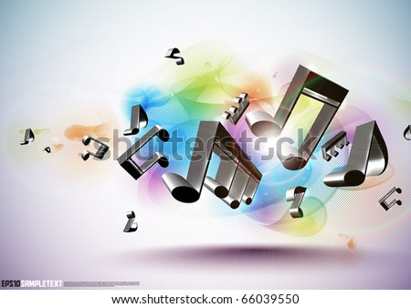 Vector 3D Musical Notes - stock vector