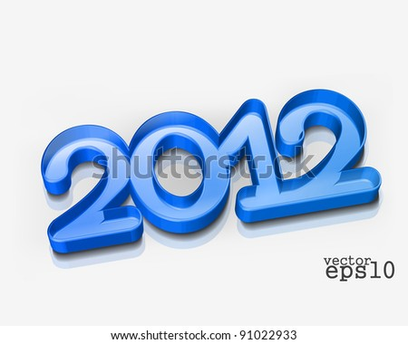 vector 3d new year 2012 design illustration - stock vector