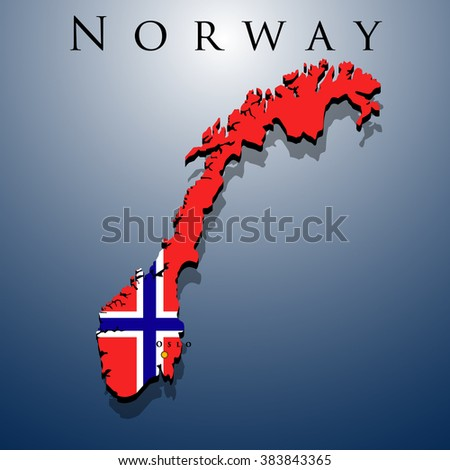 vector 3d Norway map with a flag on a blue background, EPS 10 - stock vector