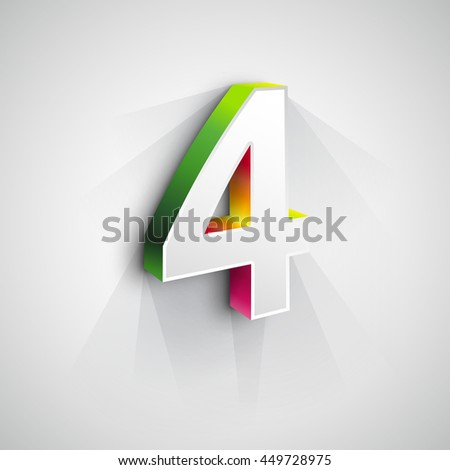 Vector 3d Number Four. White figure 4 on Gray Background