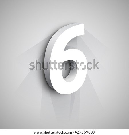 Vector 3d Number Six. White figure 6 on Gray Background - stock vector