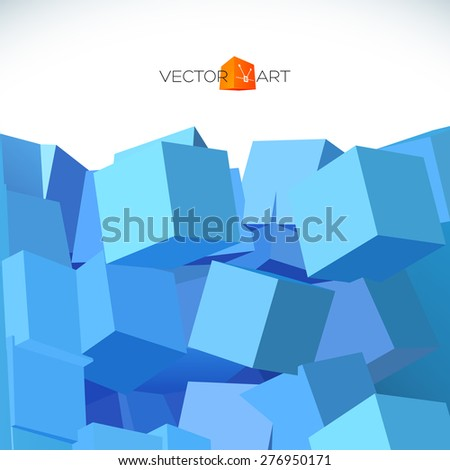 Vector 3D object explosion background with cubical particles. - stock vector
