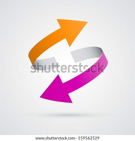 vector 3d orange and pink arrows  - stock vector