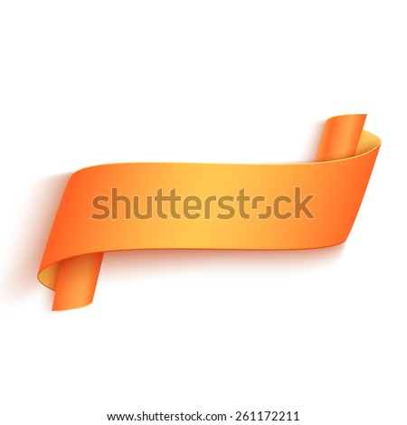 Vector 3d Orange Curved Paper Banner Isolated on White Background. Easy Paste to Any Background