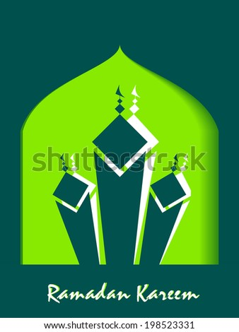 Vector 3D paper mosque_ ramadan kareem or eid_may yoou enjoy a blessed festival. - stock vector