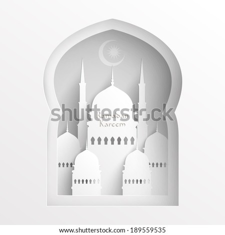 Vector 3D Paper Mosque. Translation: Ramadan Kareem - May Generosity Bless You During The Holy Month. - stock vector