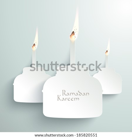Vector 3D Paper Pelita (Muslim Oil Lamp) Burning. Translation: Ramadan Kareem - May Generosity Bless You During The Holy Month. - stock vector