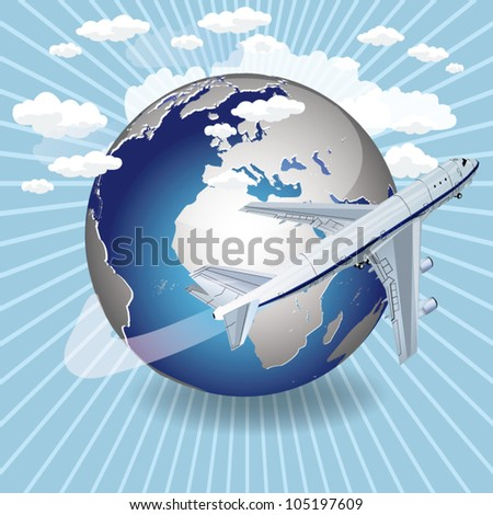vector 3d passenger jet airplane travels around the world - stock vector