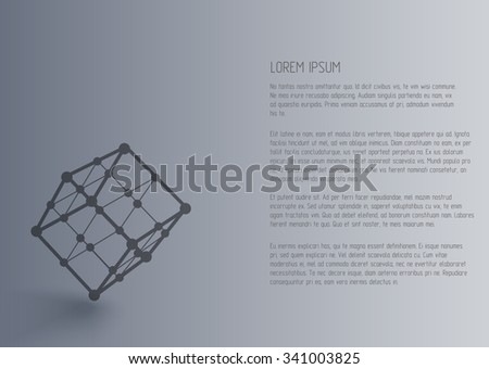 Vector 3d perspective outline cube with realistic shadow . Abstract concept illustration ,template , background ,poster for business or science - stock vector