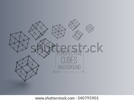 Vector 3d perspective outline many cubes in moution with realistic shadow . Abstract concept illustration ,template , background ,poster for business or science - stock vector