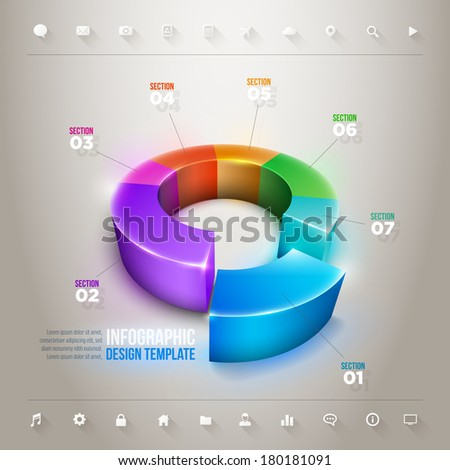 Vector 3d pie chart infographic design template. Elements are layered separately in vector file. - stock vector