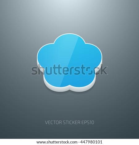 Vector 3d plastic glossy badge, flower shape. White and blue - stock vector