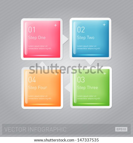 Vector 3d plastic glossy infographic design layout - square progress banners - stock vector