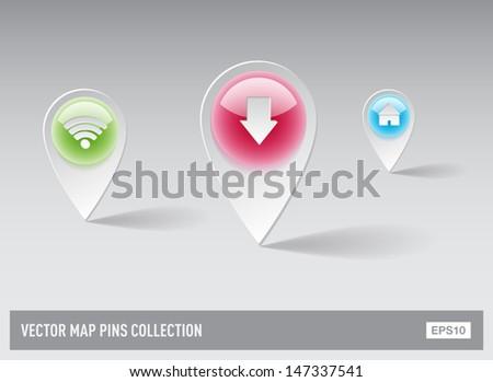 Vector 3d plastic glossy map pins - stock vector