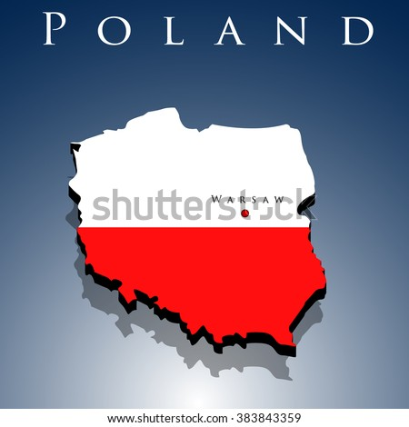vector 3d Poland map with a flag on a blue background, EPS 10 - stock vector