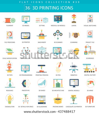 Vector 3 d printing flat icon set stock vector 437488417 for 3d flat design online
