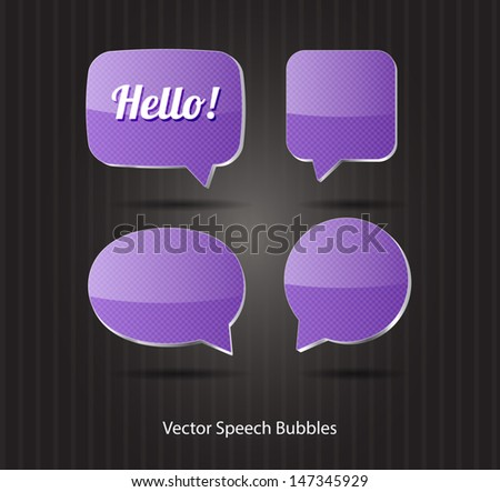 Vector 3d purple glossy speech bubbles collection - stock vector