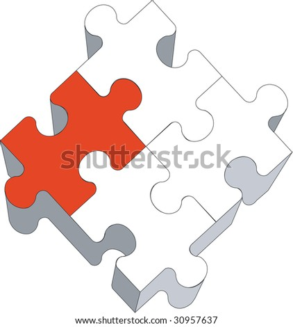 Vector. 3d puzzle in color 03 - stock vector