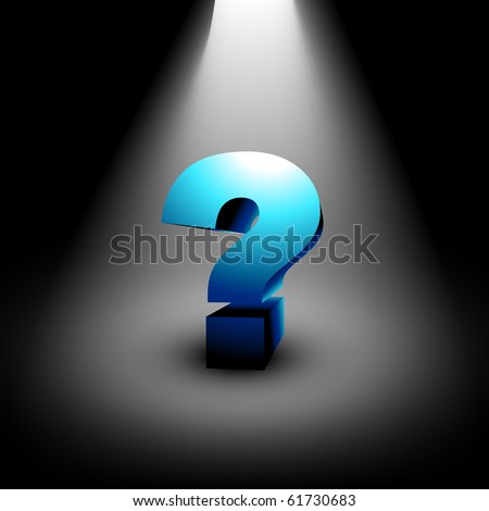 vector 3d question mark standing under focus light - stock vector