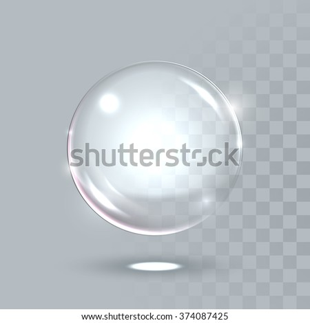 Vector 3D realistic water spherical ball. Glassy sparkling shiny droplet bubble isolated on transparent background. Eco concept. - stock vector