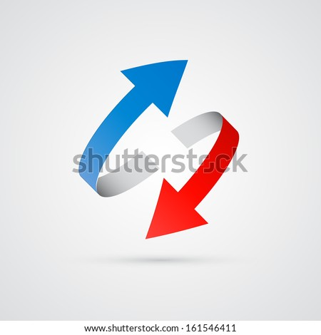 vector 3d red and blue arrows  - stock vector