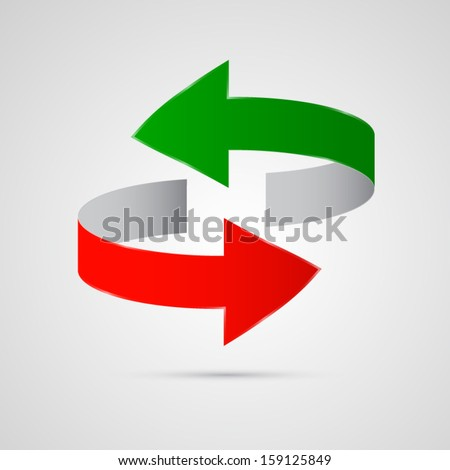 vector 3d red and green arrows  - stock vector
