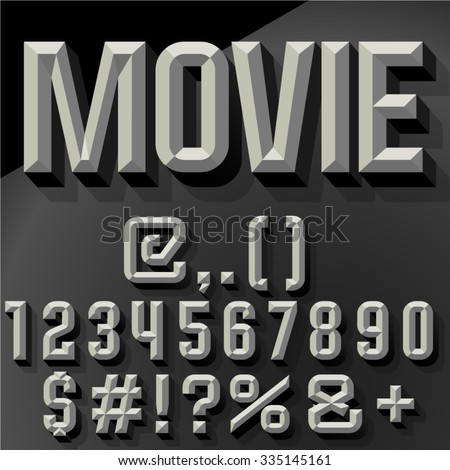 Vector 3D   set of condense beveled numbers and symbols with shadow. Bicolored version. - stock vector