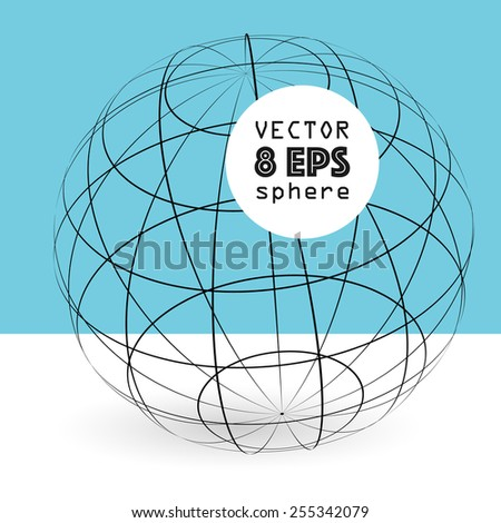 Vector 3d sphere construction with shadow and text box on blue background for design, graphic elements, EPS 8 - stock vector
