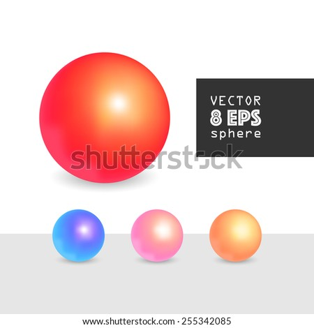 Vector 3d sphere with shadow for design, graphic elements, EPS 8 - stock vector