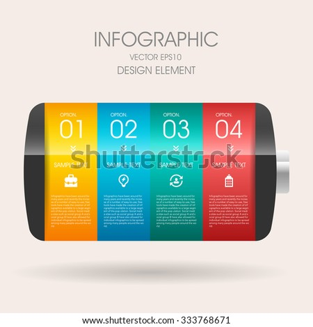 Vector 3d step label (battery) infographic design elements template for business , banners , web site , brochures