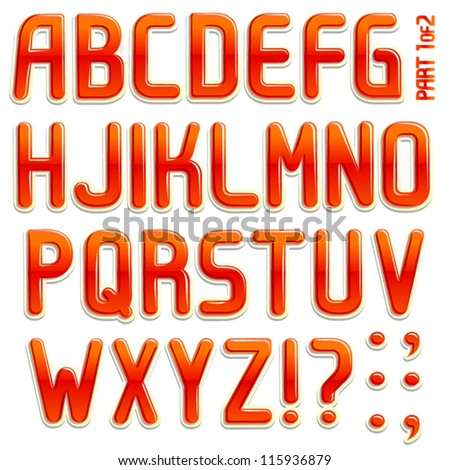 Vector 3d stiker font Part 1/2 full ABC a-z - stock vector