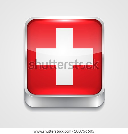 vector 3d style flag icon of switzerland