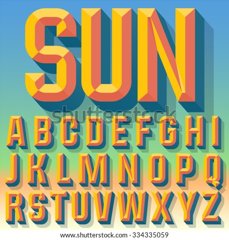 Vector 3D summer condense beveled alphabet with shadow. Multicolored version.  - stock vector