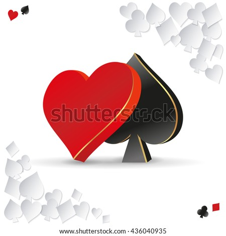 vector 3d symbol card games. playing cards game. - stock vector