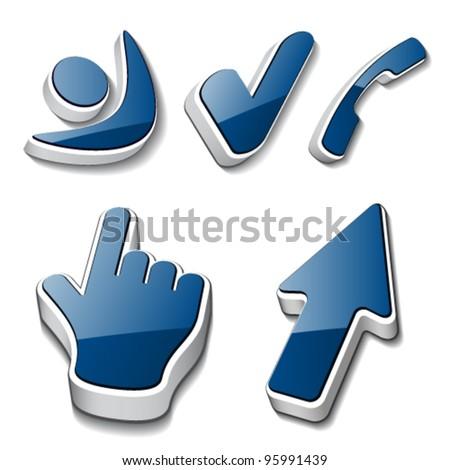 vector 3d symbols human checkmark phone cursor - stock vector