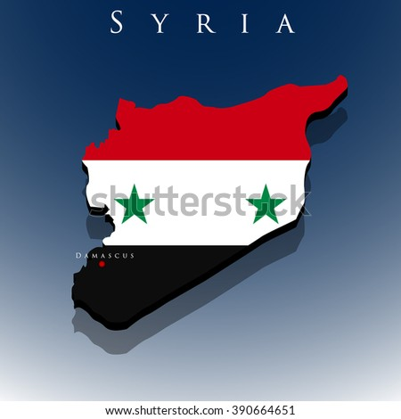 vector 3d Syria map with a flag on a blue background, EPS 10 - stock vector