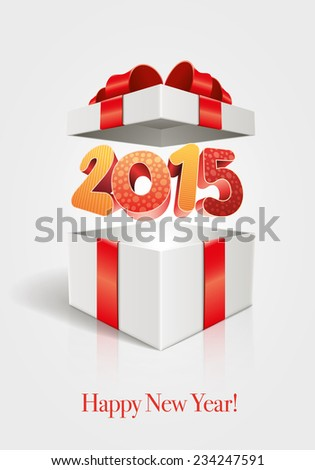 Vector 3D 2015 text in open gift box and Happy New Year message.  Elements are layered separately in vector file. - stock vector