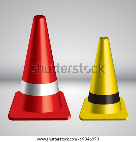 Vector 3D Traffic Pylon - stock vector