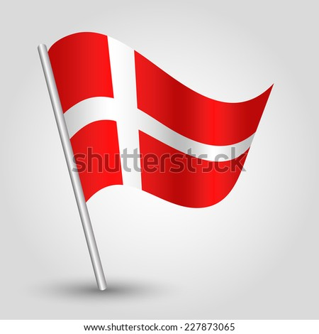 vector 3d waving danish flag on pole - national symbol of  Denmark with inclined metal stick - stock vector