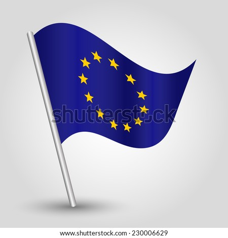 vector 3d waving eu flag on pole - national symbol of european union with inclined metal stick - stock vector