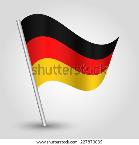 vector 3d waving german  flag on pole - national symbol of Germany with inclined metal stick - stock vector